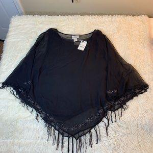 Worthington poncho black sheer outer XL NWT